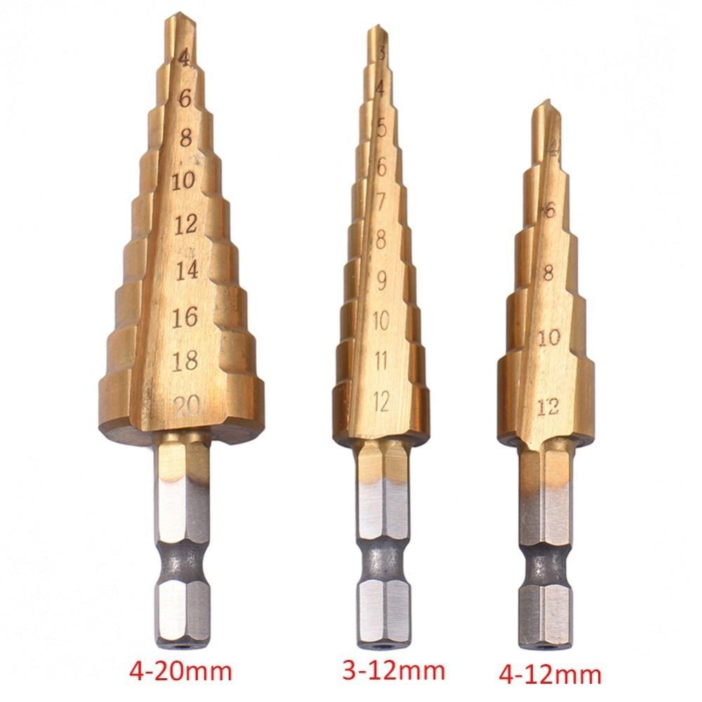 Titanium Coated Step Drill Bit (3 Piece Set)