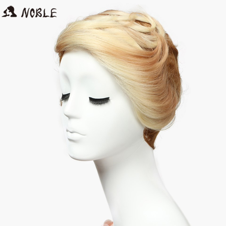 Noble Perruque Cheveux Synthetic No Lace Wigs 8 Inch Short Wavy Blonde Wigs Heat Resistant ombre blonde Color Free Shipping