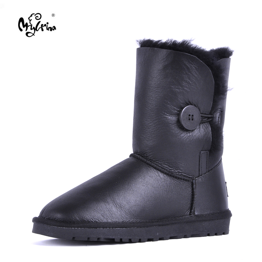 Top Quality 2017 New Fashion Women 100% Genuine Sheepskin Leather Snow Boots Natural Fur Mujer Botas Warm Real Wool Winter Shoes club brand australia women boots sheepskin leather snow boots 100% natural fur snow boots warm wool winter boots botas mujer