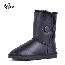 Top Quality 2017 New Fashion Women 100% Genuine Sheepskin Leather Snow Boots Natural Fur Mujer Botas Warm Real Wool Winter Shoes