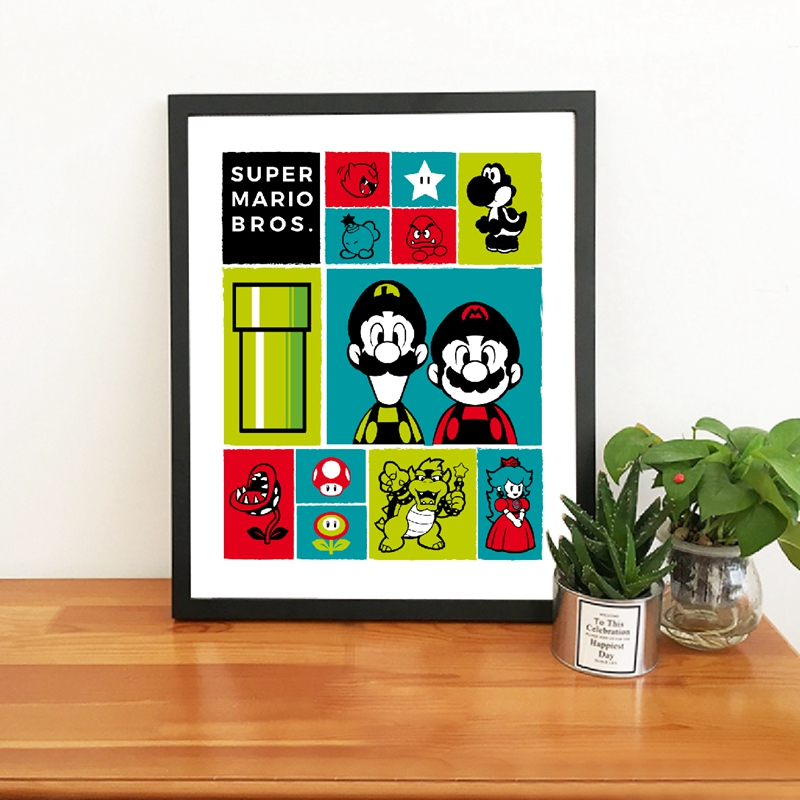 Super Mario Poster Prints Mario Icons Video Game Decor , Classic Gaming Art Painting Super Mario Bros Kids Boys Room Decoration