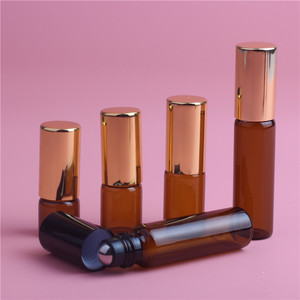 Image 3 - 5pcs 1ML 2ML 3ML 5ML Amber Roll On Roller Bottle for Essential Oils Refillable Perfume Bottle Deodorant Containers with Gold lid