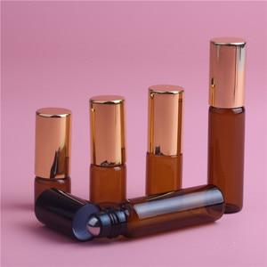Image 3 - 5pcs 1ML 2ML 3ML 5ML אמבר רול על רולר בקבוק עבור שמני אתריים למילוי בושם בקבוק דאודורנט מכולות עם מכסה זהב