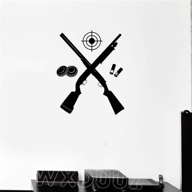 WXDUUZ Rifle Shooting Gallery Gun Target Shooter Art Decor Sticker Wall  Stickers Decor Removable Wall Decals