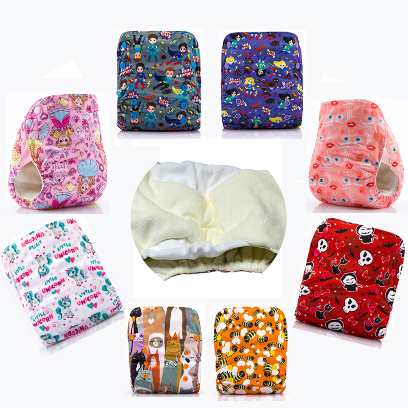 10 Pieces JinoBaby Bamboo Diaper Cloth Diapers Reusable Pants with Inserts Care for Baby