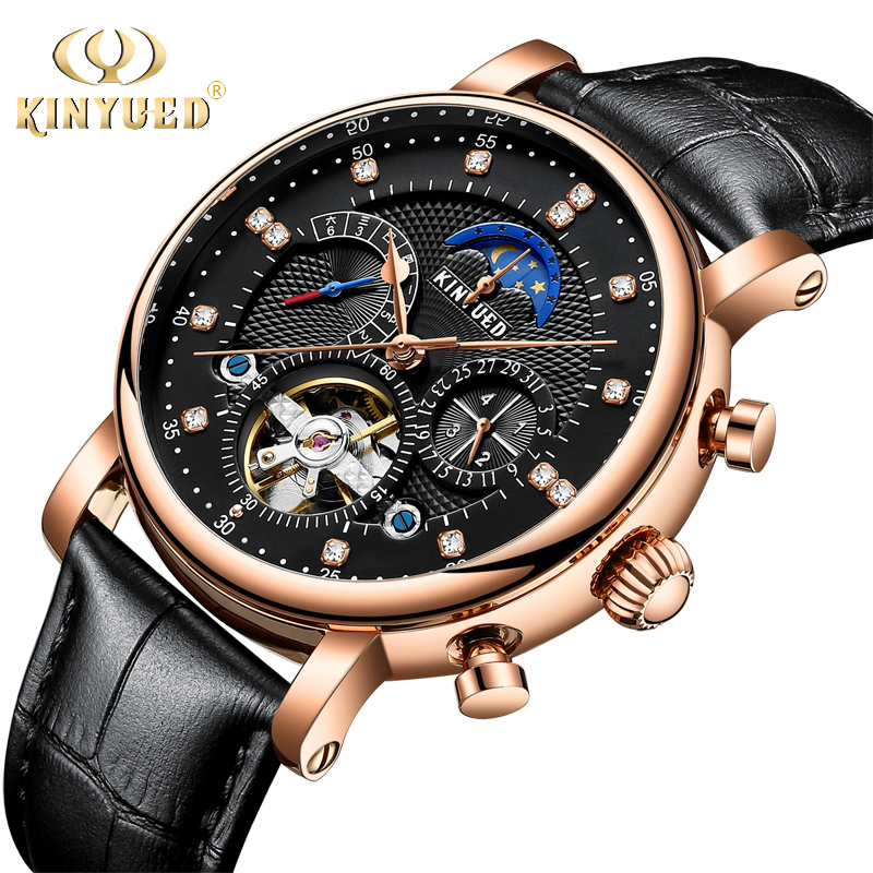 KINYUED 2018 Tourbillon Mechanical Watches Men Luxury Fashion Brand Genuine Leather Man Multifunctional Automatic Skeleton Watch new mechanical hollow watches men top brand luxury shenhua flywheel automatic skeleton watch men tourbillon wrist watch for men