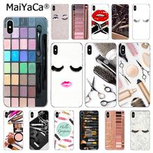 MaiYaCa Naked Eyelash Fashion Glam Makeup Palette tool hair Phone Case For iphone 11 Pro 8 7 6 6S Plus X XS MAX 5S SE XR(China)
