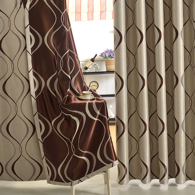 New Modern Style Wave Jacquard font b Curtains b font for living room bedroom window Balcony