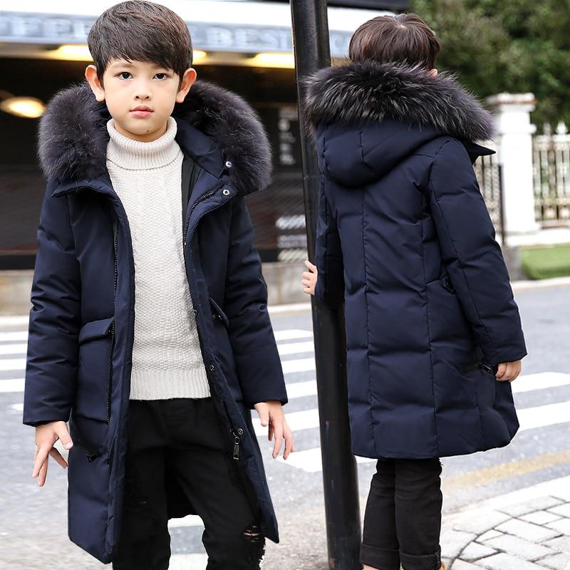-30Dgree Duck Down Children Winter Jacket Boy Winter Coat Kids Warm Thick Fur Collar Hooded long down Coats For Teenage 4Y-14Y