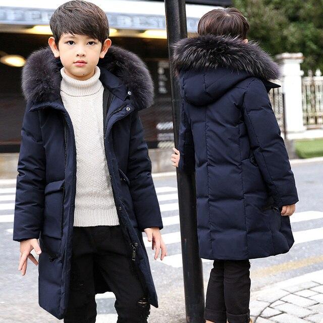 -30 Dgree/детская зимняя куртка на утином пуху, зимнее пальто для мальчиков, Детские теплые длинные пуховые пальто с меховым воротником и капюшоном для подростков, От 4 до 14 лет