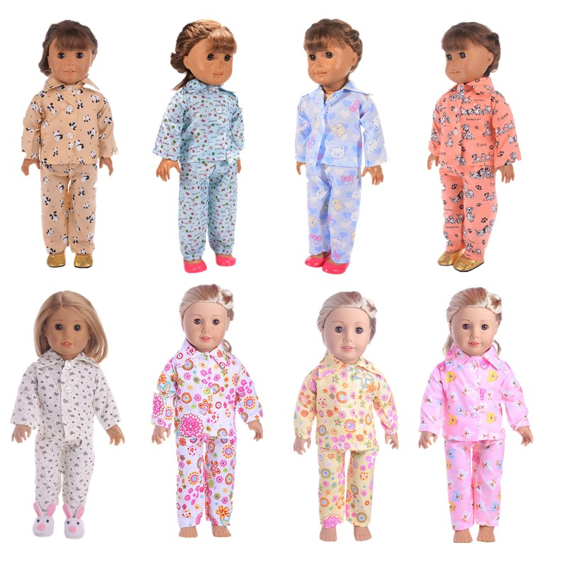 LUCKDOLL  Many Styles Pajamas Fit 18 Inch American 43cm Baby Doll Clothes Accessories,Girls Toys,Generation,Birthday Gift