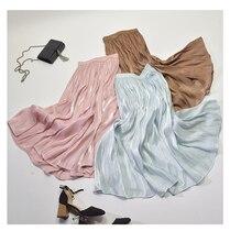 2019 Primavera Novo Estilo Coreano Saia Plissada Cintura Elástica Pérola Brilho De Seda Escorregadia Faldas Largas Elegantes Frete Grátis