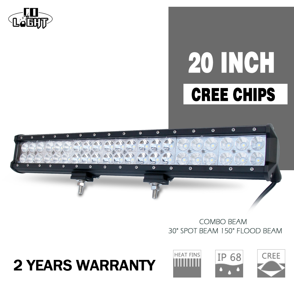 CO LIGHT 20'' 126W LED Work Light Bar COB Chip 2D Straight for Off Road Work Driving Boat Car Truck 4x4 SUV ATV Combo Beam h4 7 led headlights with led car canbus led chip 80w 8000lm 6000k hi lo led driving light for off road uaz lada
