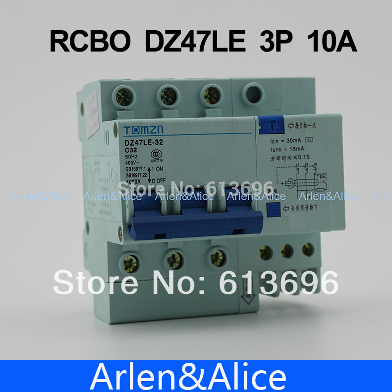 3P 10A DZ47LE TOMZN 400V~ Residual current Circuit breaker with over current and Leakage protection RCBO3P 10A DZ47LE TOMZN 400V~ Residual current Circuit breaker with over current and Leakage protection RCBO