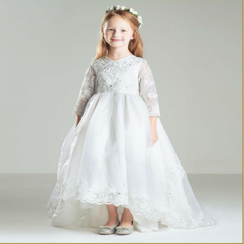 3/4 Sleeve White Flower Girls Dresses for Wedding Lace Holy Communion Dresses Tulle Kids A-Line Long Mother Daughter Dresses