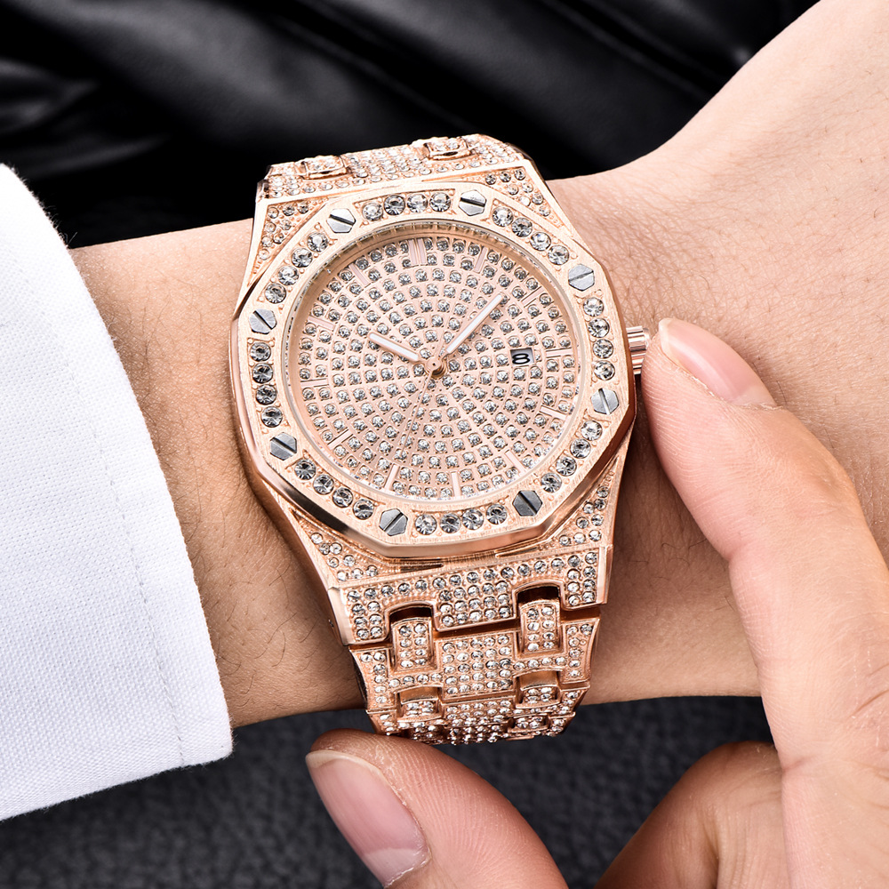 Luxury Bling Diamond Watch For Men ICED-OUT Rose Gold Stainless Steel Mens Quartz Watches Man Waterproof Date Dress WristwatchLuxury Bling Diamond Watch For Men ICED-OUT Rose Gold Stainless Steel Mens Quartz Watches Man Waterproof Date Dress Wristwatch