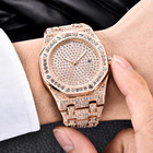 Luxury Bling Diamond Watch For Men ICED-OUT Rose Gold Stainless Steel Mens Quartz Watches Man Waterproof Date Dress Wristwatch