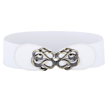 Women's Plus Size Casual Stretchy Metal and Leather Waist Belt