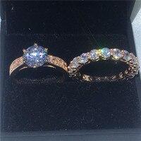 Solitaire nhẫn Set lời hứa Enagement Wedding Nhạc Nhẫn đối với phụ nữ người đàn ông 3ct AAAAA zircon cz Rose Gold Filled Tay Nữ đồ trang sức
