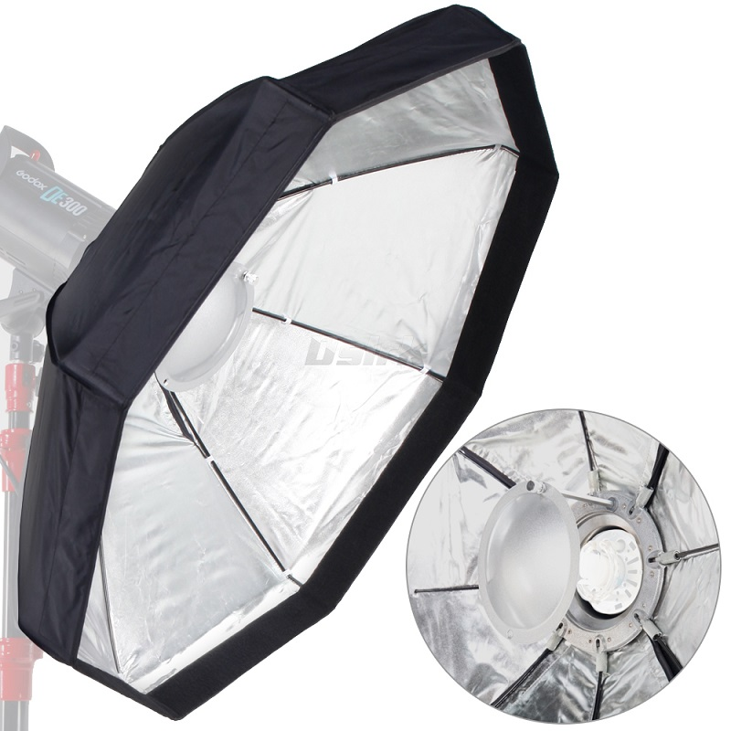 8 Pole 60cm 24 Silver Beauty Dish Foldable Octagon Softbox with Bowens Mount for Studio Strobe