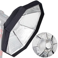 "8-Pole 60cm 24"" Silver Beauty Dish Foldable Octagon Softbox with Bowens Mount for Studio Strobe Flash Light Reflecting dish"