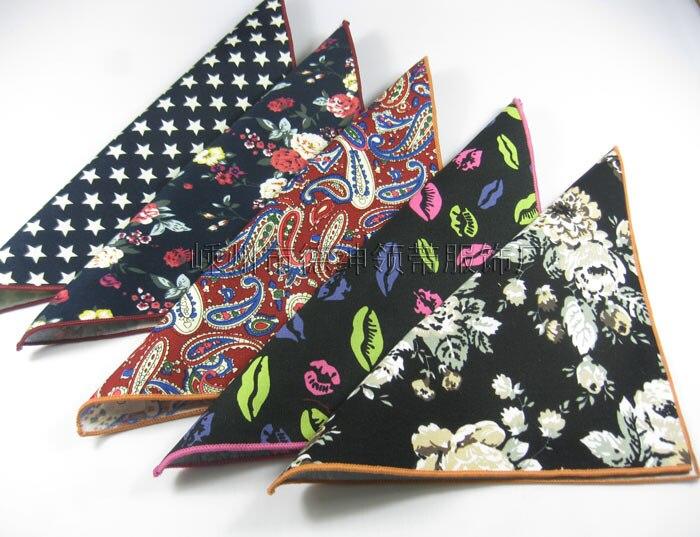 Men Cotton Linen Printed Pocket Square Hankerchief   Wedding Party Accessories Handkerchief  Hanky