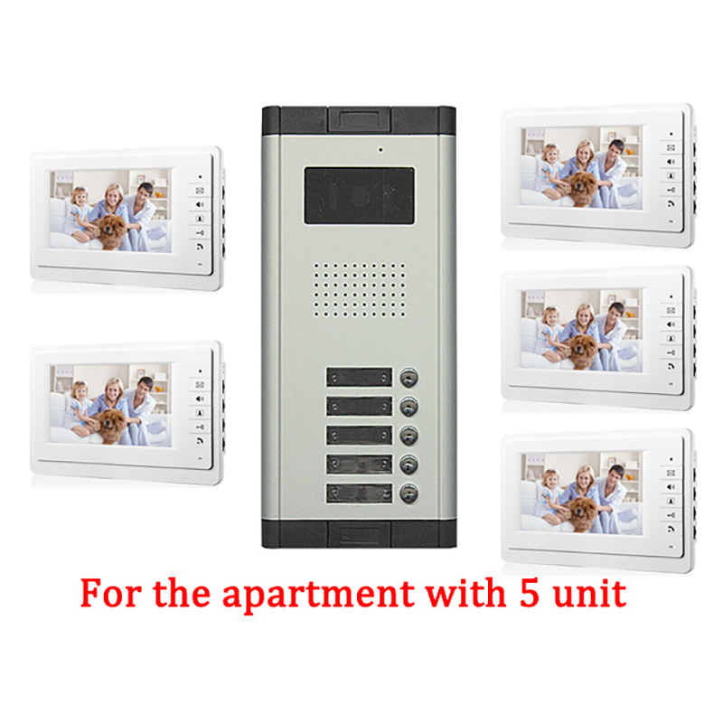 5 Apartment Doorbell Video Intercom apartment intercom entry system 7 Inch Lcd Video Door Phone Intercom System Video Intercom hd apartment building intercom system access control system of intelligent video intercom doorbell project customized wholesale