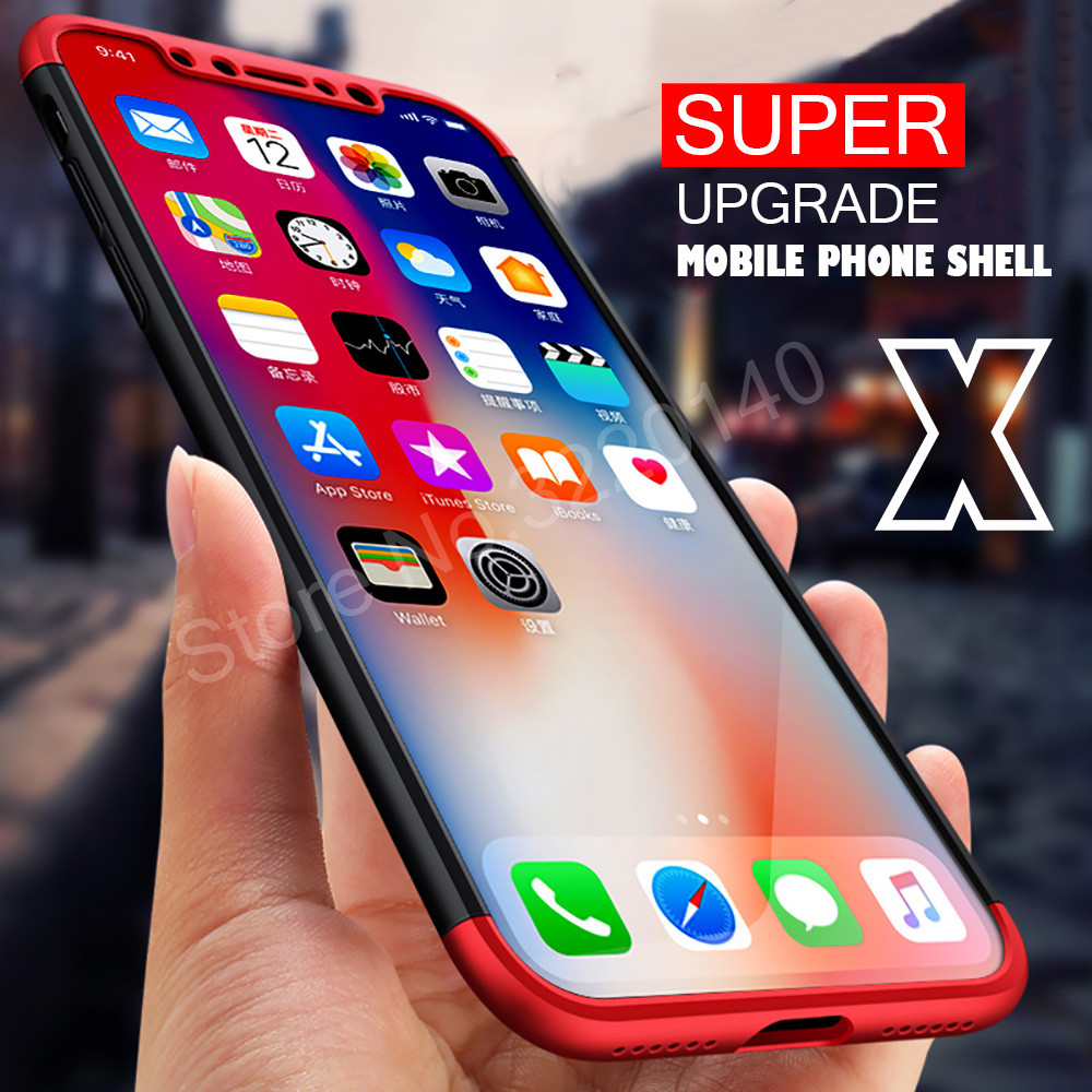 Protection Case For iphone X 6 6s plus 7 8 plus Cover Luxury PC Hard Shockproof 360 Degree Cover For iphone 8 7 plus Back Cases1