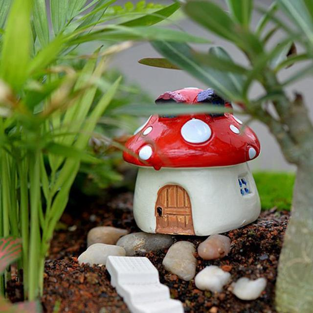 New DIY Micro Mushroom House Resin Crafts Mini Landscape House Doll House  Fairy Garden Decoration Bonsai