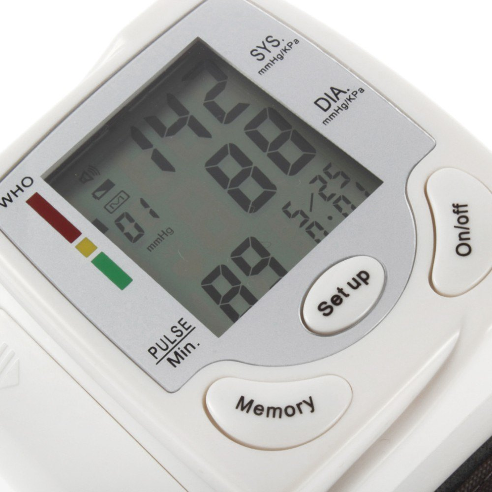 Gustala Automatic Digital Sphygmomanometer Wrist Cuff Arm Blood Pressure Monitor Meter Gauge Measure Portable Bracelet Device 25