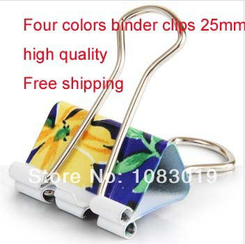 New 8494 Colorful cute lovely flower printing metal cards binder clips votes paper 25mm office school Stationery promotion gift wars guns and votes