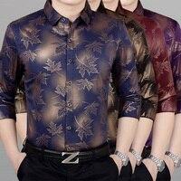 2019 New Men Dress Shirt Long Sleeve Tops Fashion Men Print Shirt High Quality Business Banquet Man Leisure Shirts