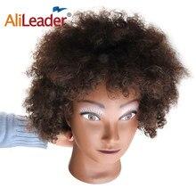 AliLeader 8 zoll Männlich Menschliches Haar Training Mannequin Kopf Afro Make-Up Ausbildung Friseur Mannequin Kopf Haar Schaufensterpuppen Für Verkauf