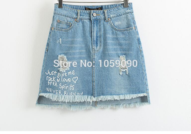 Popular Destroyed Denim Skirt-Buy Cheap Destroyed Denim Skirt lots ...