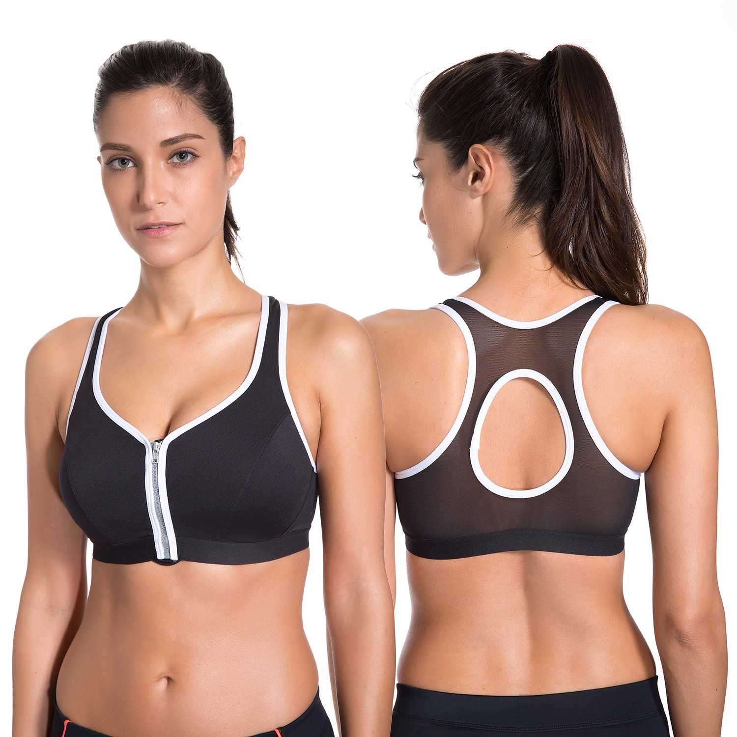 6167391dbce59 Women s High Impact Front Zipper Plunge Wire Free Non Padded Sports Bra