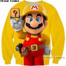 PLstar Cosmos 2017 New Fashion Sweatshirt Funny Super Mario Hoodie Hip Hop Crewneck Sweatshirt 3D Print Casual Pullovers