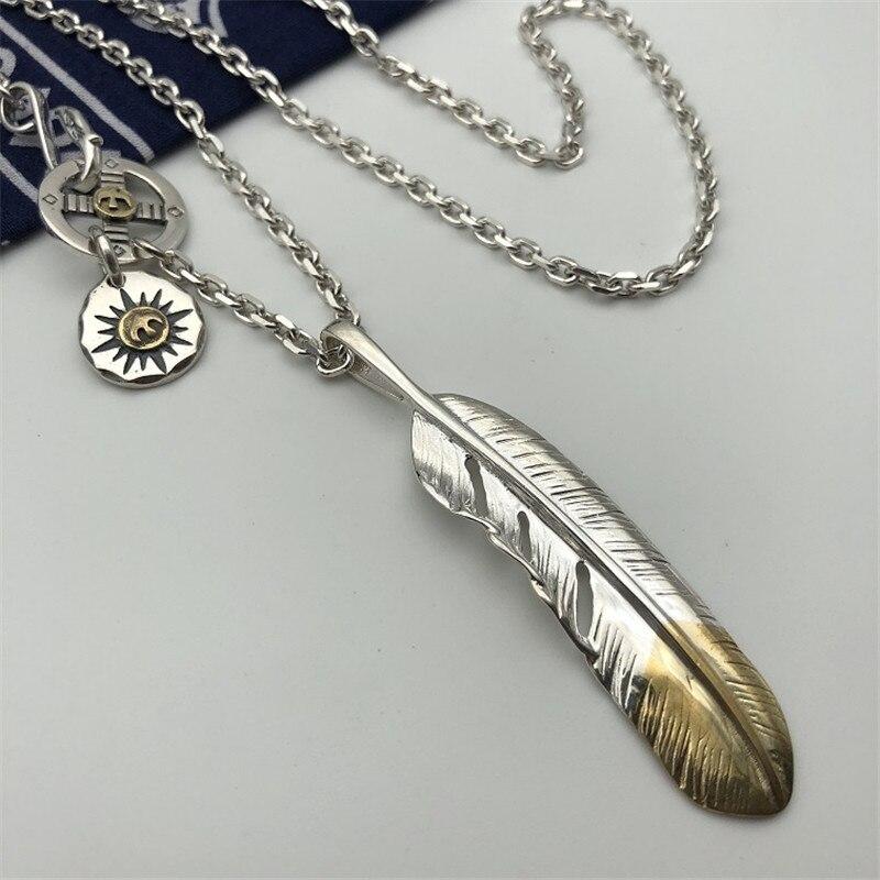 Style indien fait à la main en argent Sterling 925 plume pendentif collier hommes femmes Thai argent bijoux longue chaîne collier hommes bijoux - 3