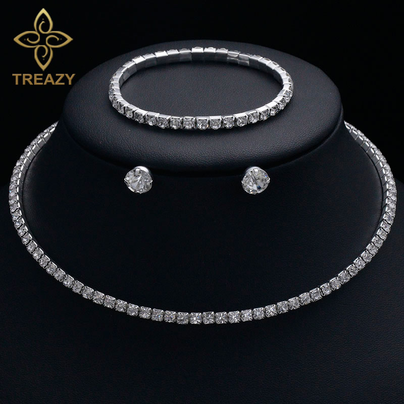 TREAZY Circle Crystal Bridesmaid Bridal Jewelry Sets Silver