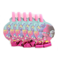 6Pcs/lot Trolls Noise Maker Catroon Theme Blowout Plastic Whistle Kid's Birthday Party Fittings Party Supplies Decorative Toys(China)