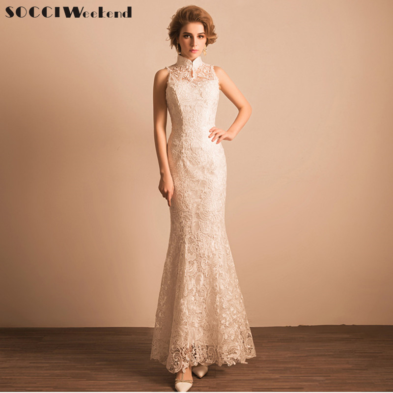 SOCCI Weekend New Ivory Snow White Wedding Dress Lace Long Chinese Style Mermaid Lady Girl Women Princess Banquet Party Gowns