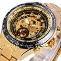 GANADOR esqueleto de oro relojes de los hombres militar deportes relojes correa de acero automático mecánico del viento relojes relogio masculino