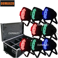 8pcs/lot with flight case 54pcs*3W 3in1 aluminium par can LED 54x3w LED Lights RGB PAR 64 DMX512 Stage Party Show