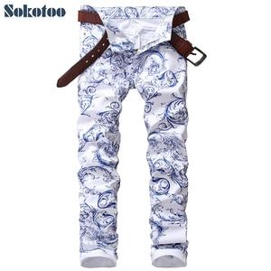 Image 1 - Sokotoo גברים של אופנה כחול ולבן פורצלן דפוס הדפסת ג ינס Slim למתוח ינס מכנסי עיפרון ארוך מכנסיים