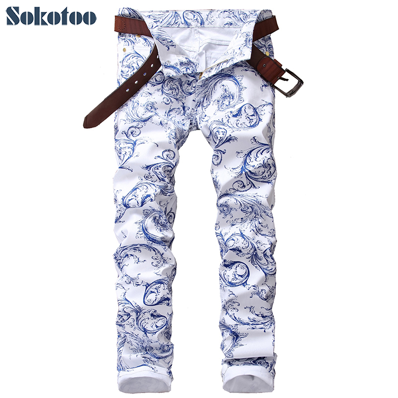 Sokotoo Men's fashion blue and white porcelain pattern print jeans Slim stretch denim pencil pants Long trousers