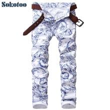 Sokotoo męskie modne niebieskie i białe wzór porcelanowy dżinsy z nadrukami Slim rozciągliwe ołówkowe spodnie jeansowe długie spodnie