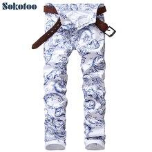 Sokotoo الرجال موضة الأزرق والأبيض الخزف نمط طباعة الجينز سليم تمتد الدينيم سروال شكل قلم رصاص بنطلون طويل