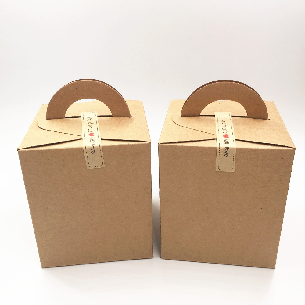 12Pcs/Lot Brown Kraft Paper Box With Two Kind Free Stickers For Jewelry Carrying Case Wedding Gift Engagement Boxes 9.5x9.5x11cm