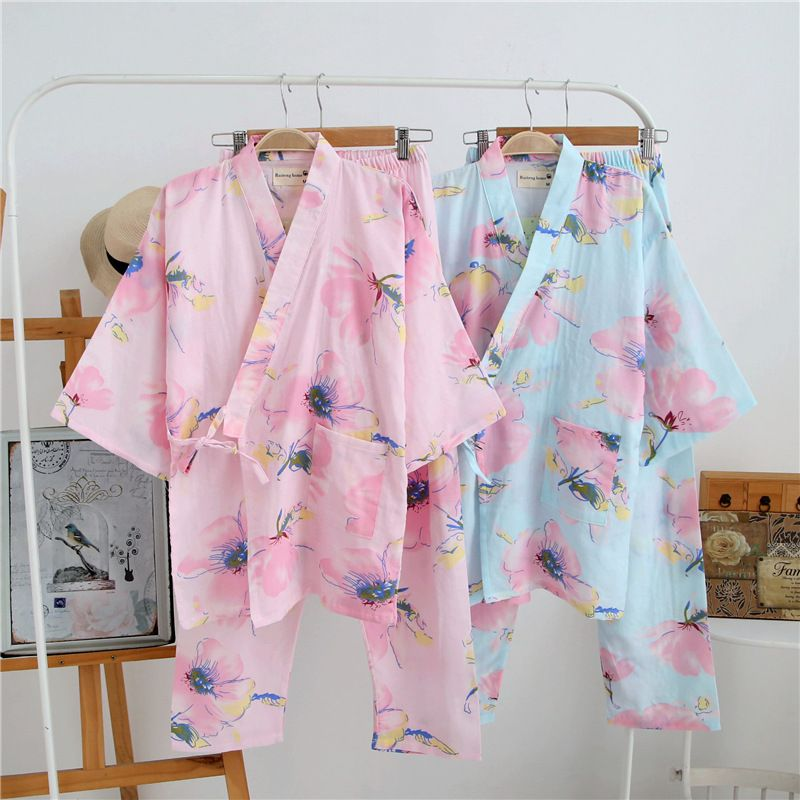 New Japanese Cotton Gauze Traditional Yukata Women Kimono Home Sleepwear Suits Pajamas Soft Spa Bath Robe and Pants G112506
