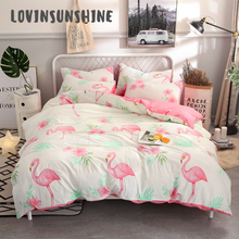 цена LOVINSUNSHINE Duvet And Bedding Sets Duvet Quilt Cover Set Cartoon Flamingo Print King Bed Sheet Set AB#39 в интернет-магазинах