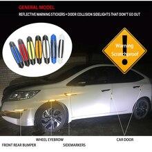 Protector de rasguños anticolisión para coche de fibra de carbono pegatinas de goma para puerta de automóvil tira de parachoques accesorios reflectantes de advertencia